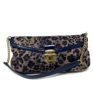 Kate Landry Animal Print Shoulder Bag Blue Gold